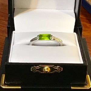 925 sterling ring with light green stone